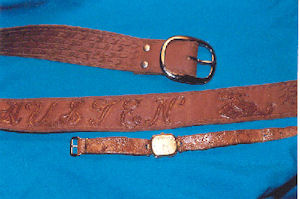 Leather belt and watchband